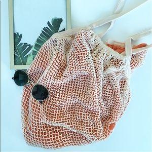ORANGE AND CREAM NET BEACH BAG